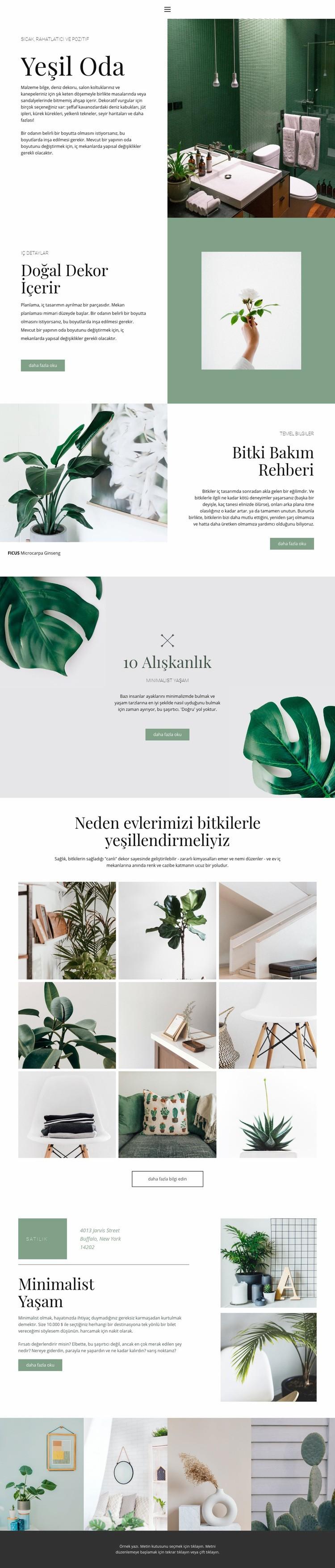 Evde yeşil detaylar Web Sitesi Şablonu