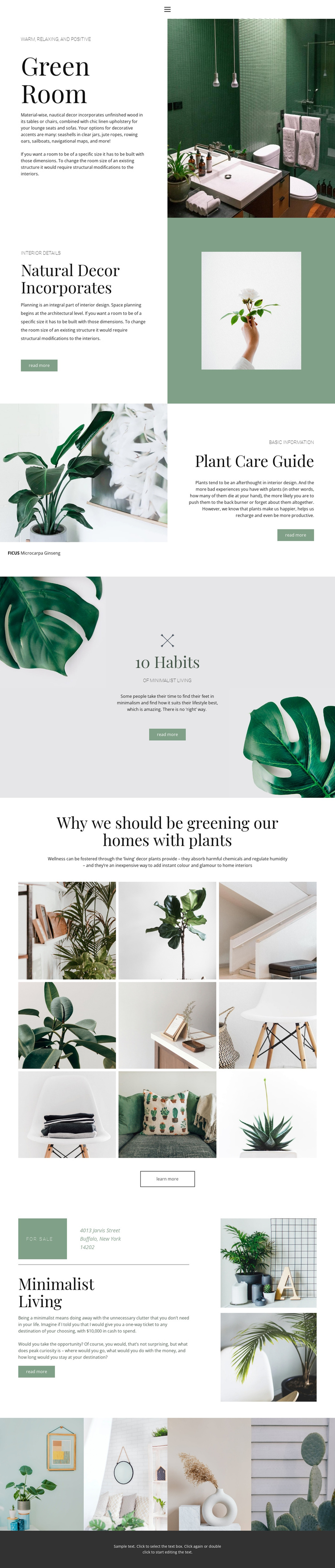 Green details in home Website Builder Software