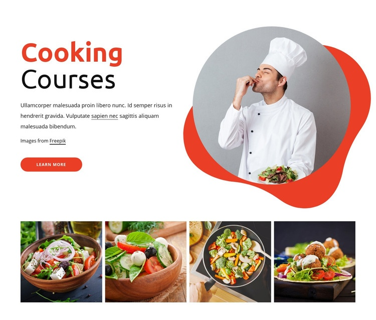 Cooking courses Html Code Example