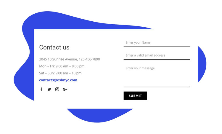Contact us form HTML Template