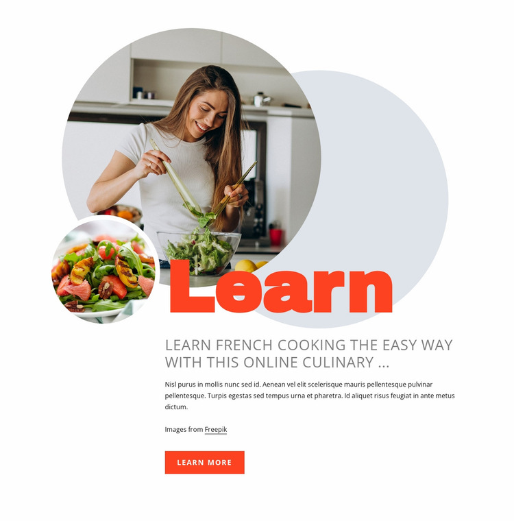 Learn french cooking Website Mockup