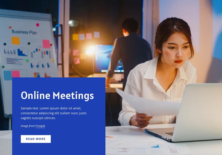 Online Meetings tools Website Mockup