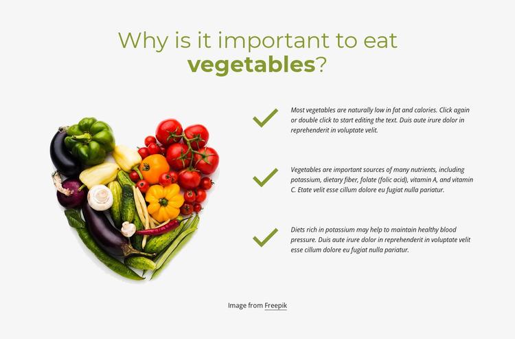 Best Vegetables to eat daily Website Mockup
