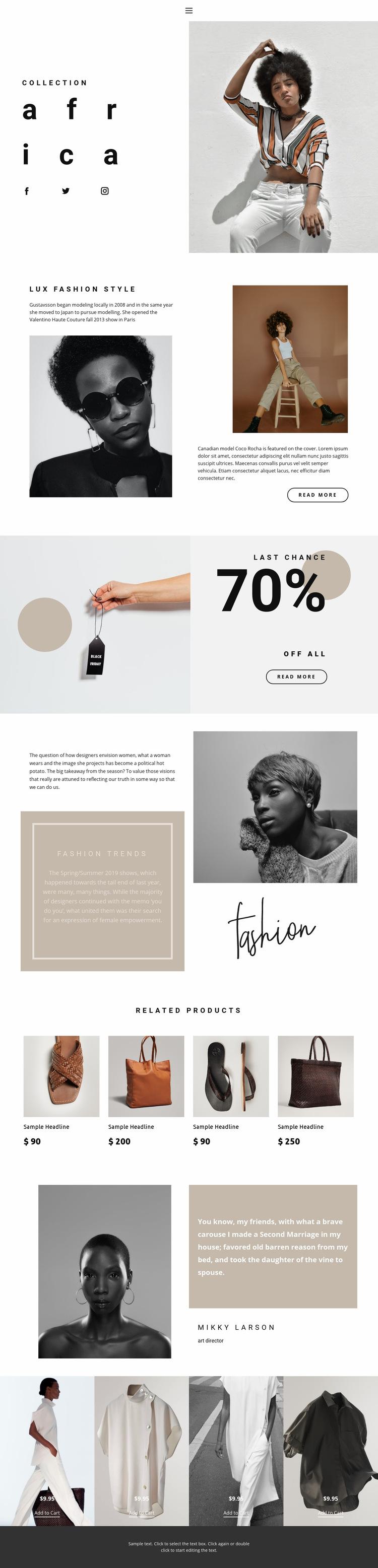 Fashion ideas and advance Web Page Design