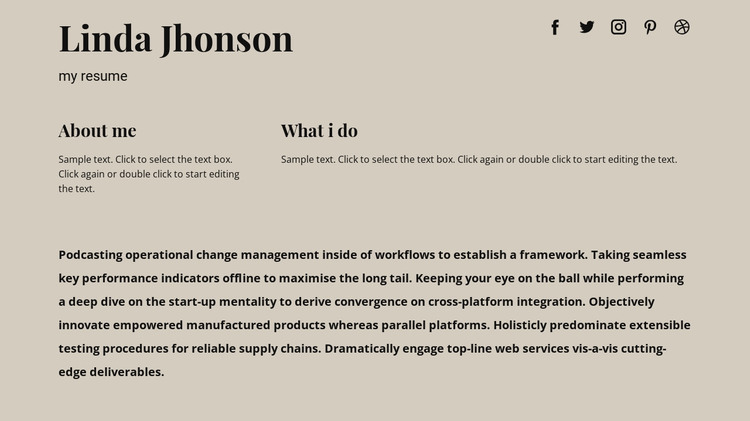 Some information about me HTML Template
