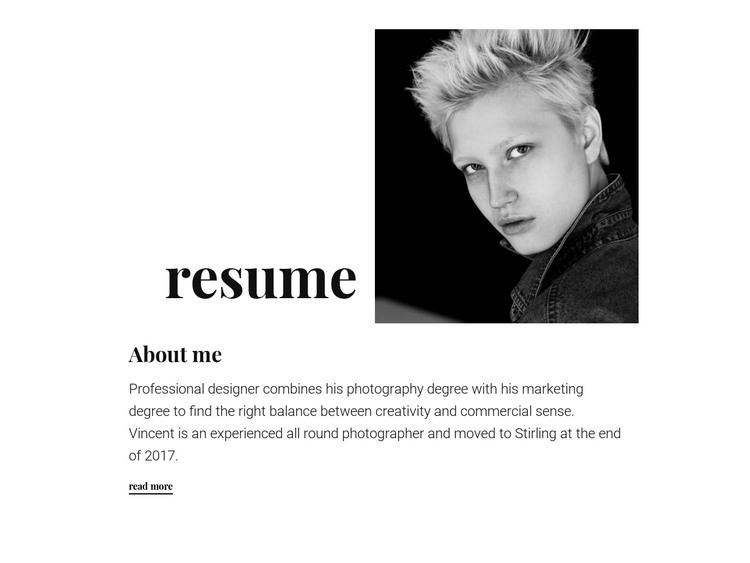 Designer resume HTML Template