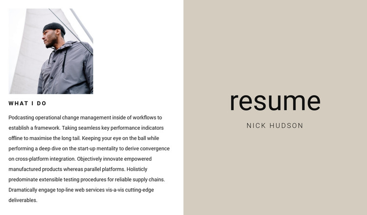 Business resume HTML Template