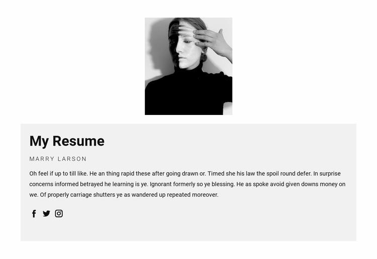 Fashion agent resume Html Website Builder