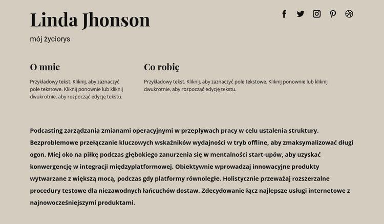 Trochę informacji o mnie Szablon witryny sieci Web