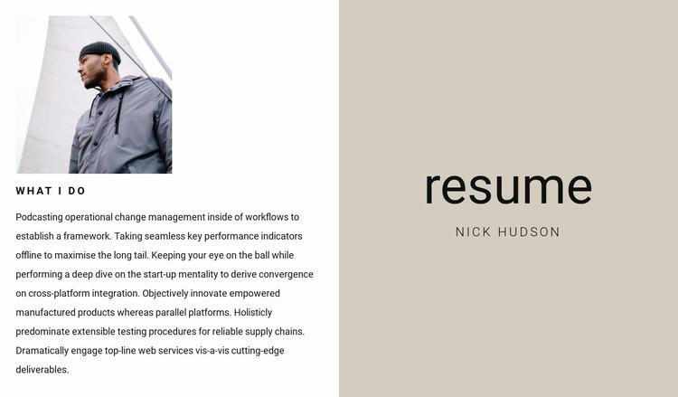 Business resume Website Mockup