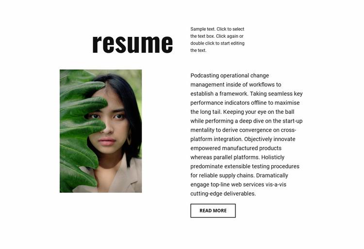 Photographer resume Website Mockup