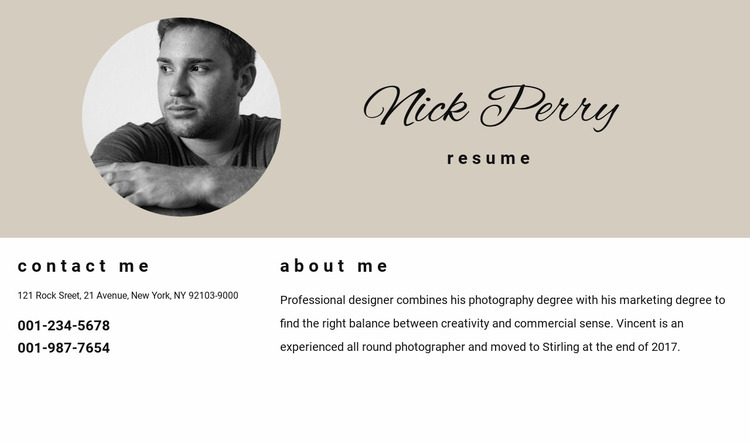 Resume and contacts Website Mockup