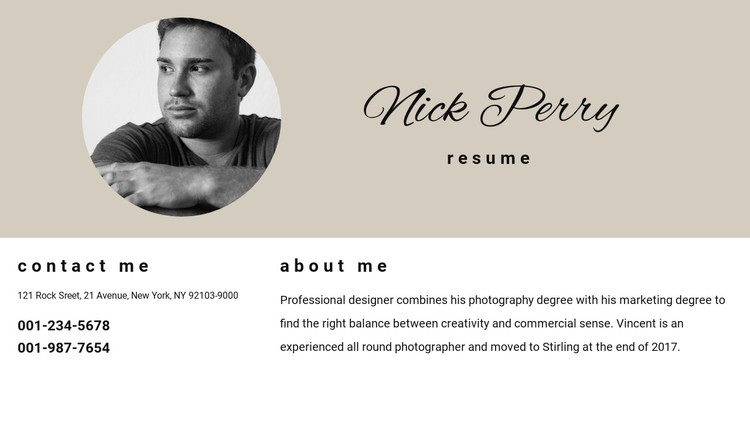Resume and contacts WordPress Template