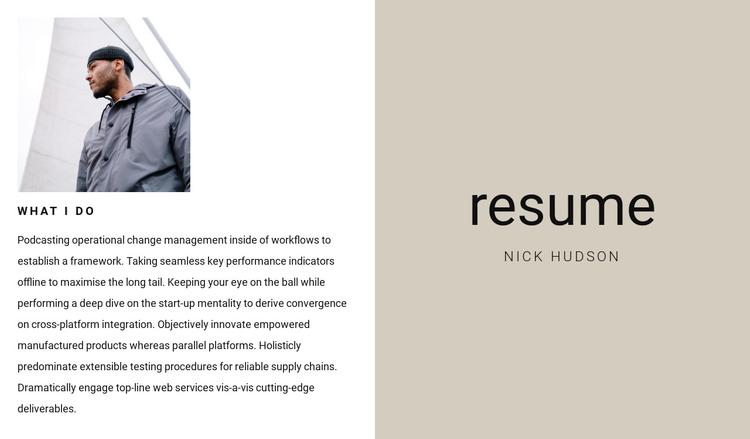 Business resume WordPress Theme