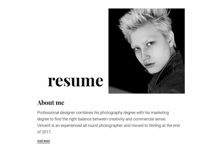 Designer resume WordPress Website Builder