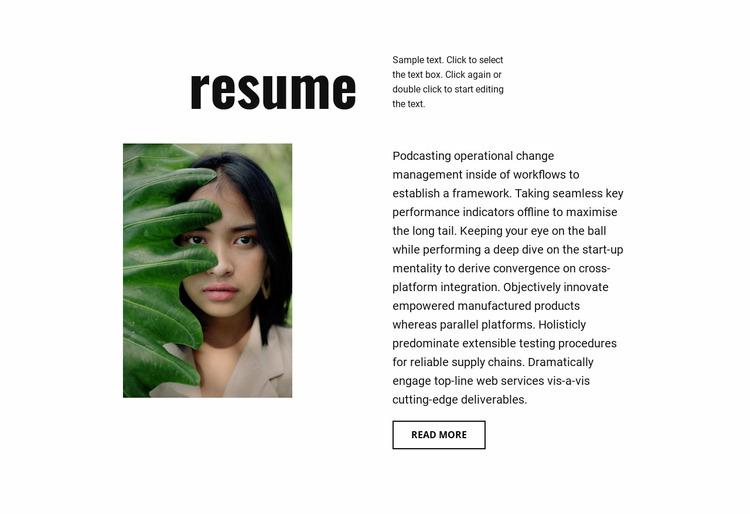 Photographer resume WordPress Website Builder