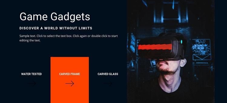 Game gadgets Web Page Design