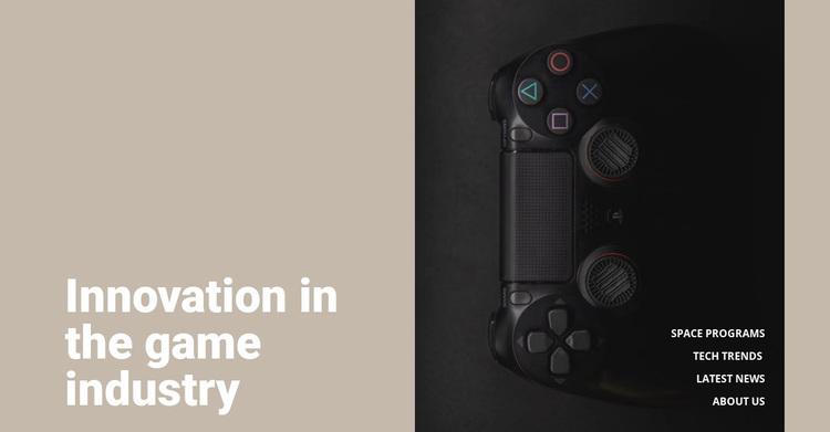 Innovation in game industry Website Design