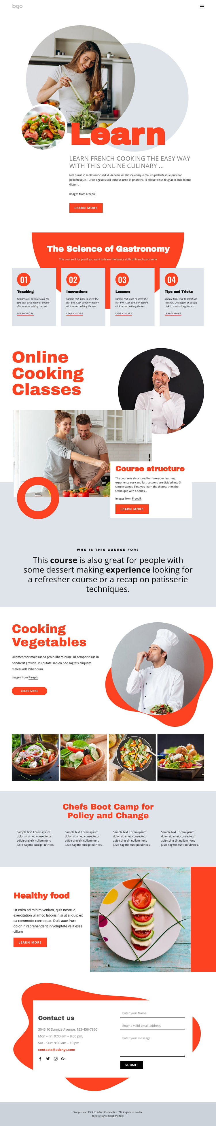 Learn cooking the easy way One Page Template