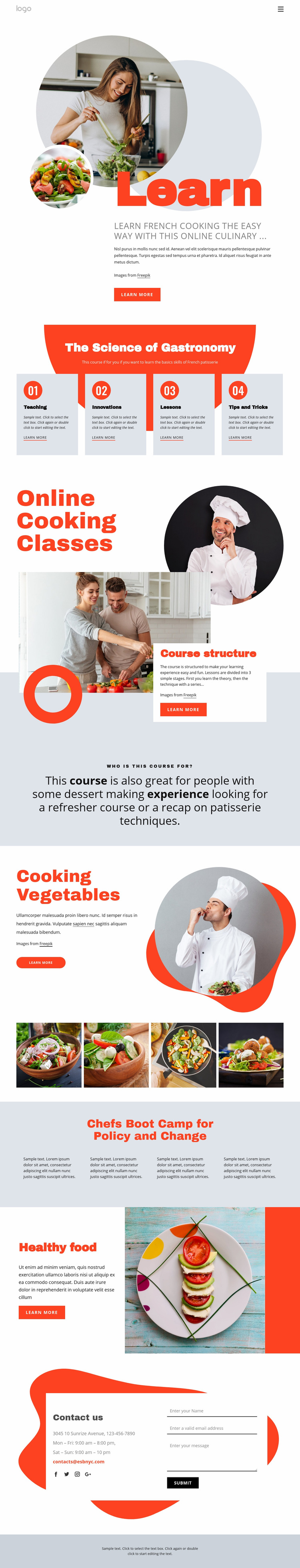 Learn cooking the easy way Web Page Design