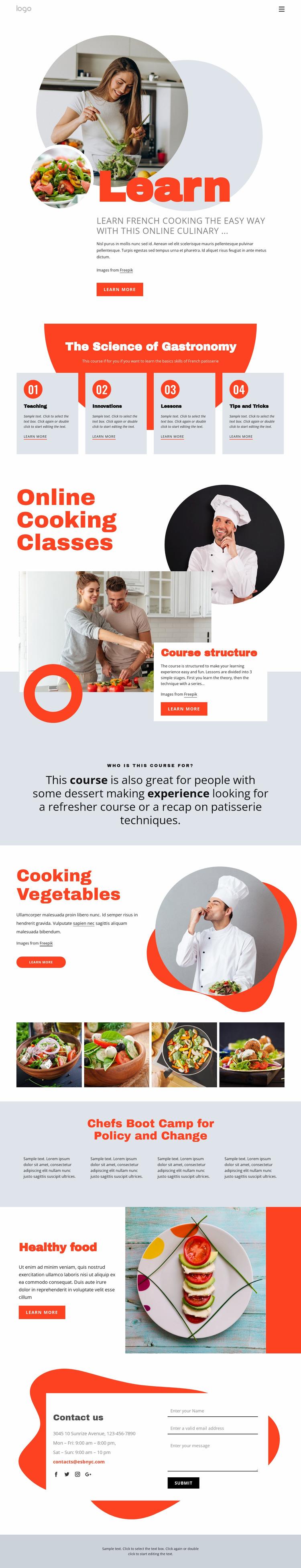 Learn cooking the easy way WordPress Website Builder