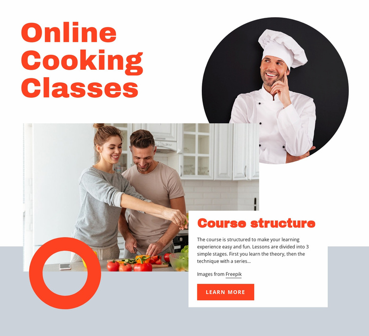 Online cooking classes Website Template