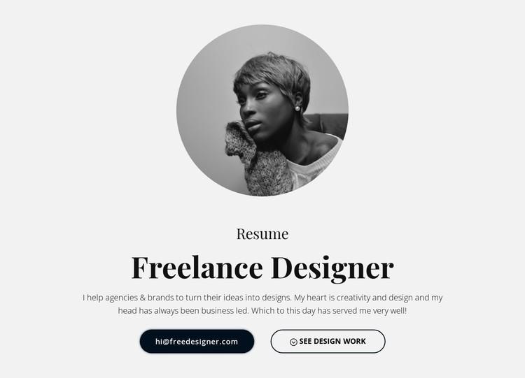 Freelance designer resume CSS Template