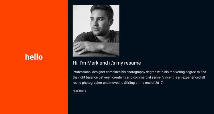 Hello, it's my resume Html Website Builder