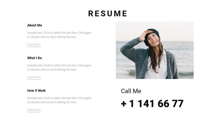 Creative resume Joomla Page Builder