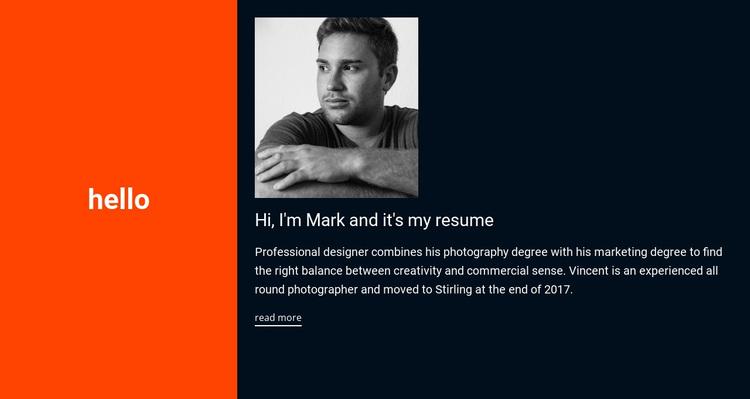 Hello, it's my resume Joomla Page Builder