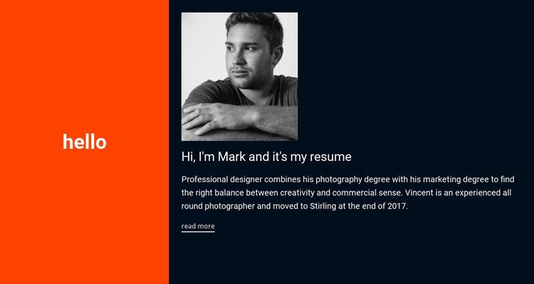 Hello, it's my resume Joomla Template