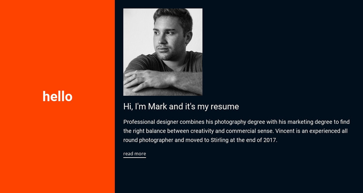 Hello, it's my resume Website Mockup