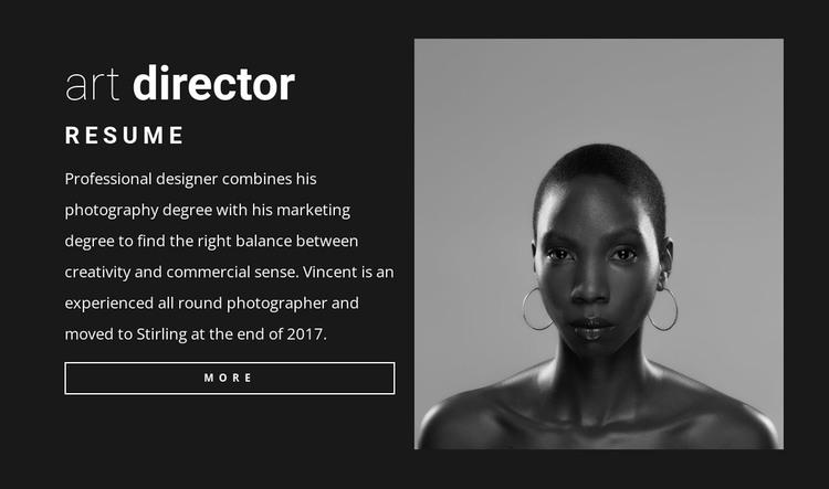 Art director resume Woocommerce Theme