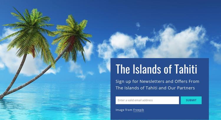 The islands of Tahiti Landing Page
