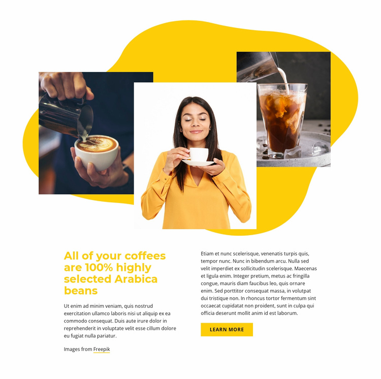 100% selected Arabica Landing Page
