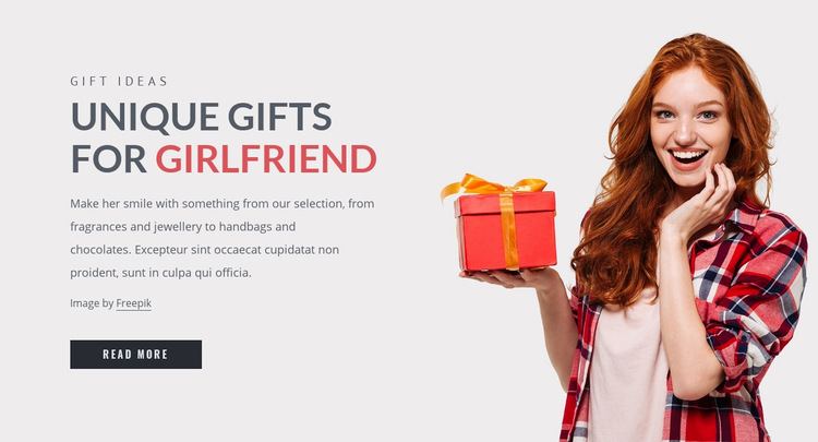Gifts for girlfriend Web Page Design