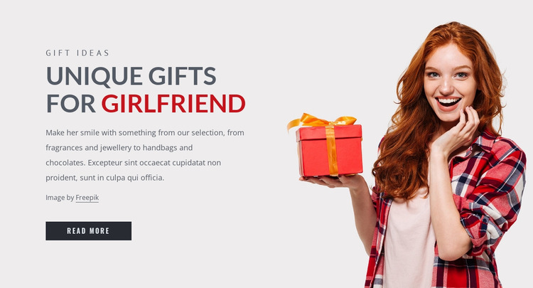 Gifts for girlfriend Website Mockup