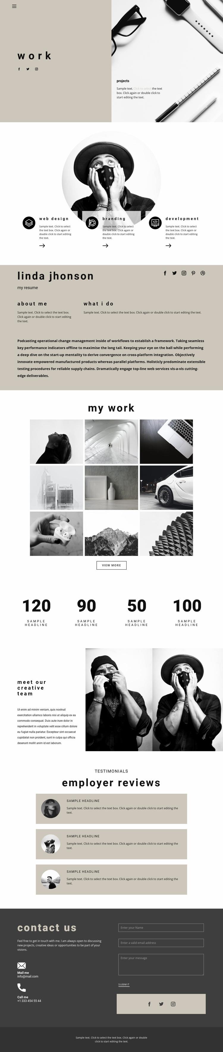 Art space resume Website Design