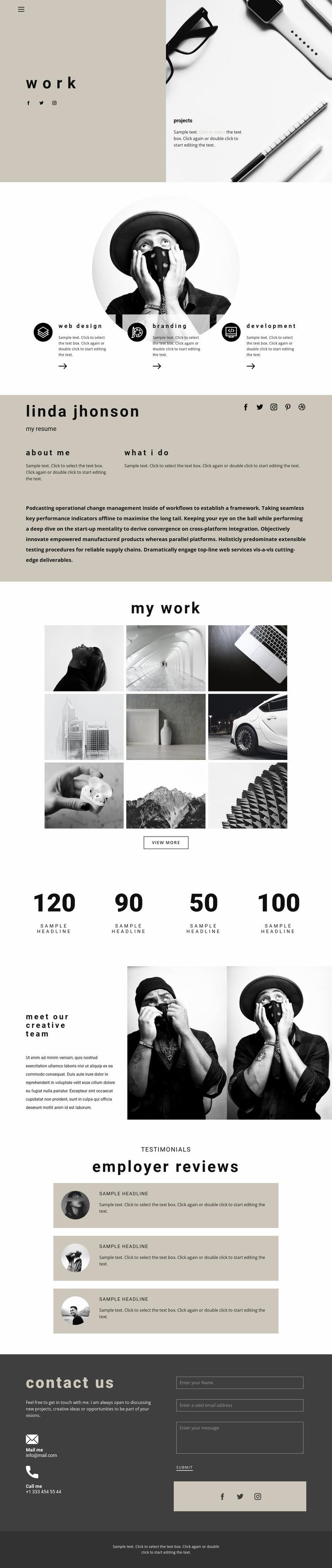 Art space resume Website Mockup