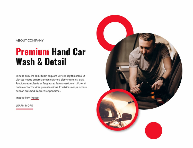 Premium car wash Web Page Designer