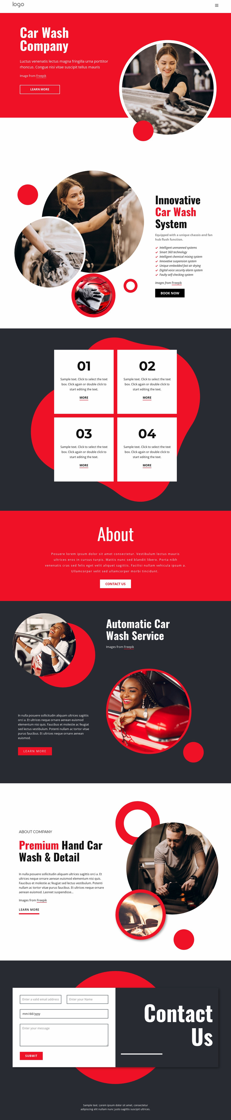Ecologically friendly car washing Website Mockup