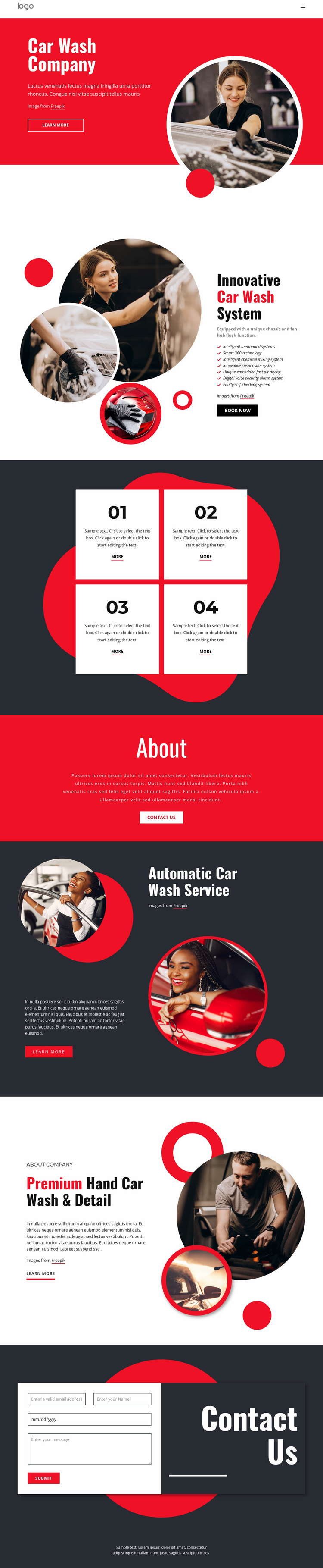 Ecologically friendly car washing Landing Page