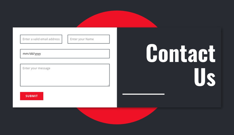 Manimalistic contact form Homepage Design