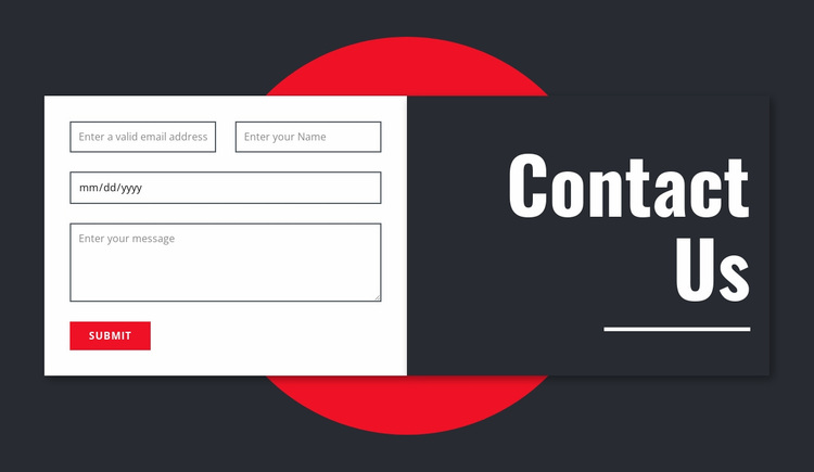Manimalistic contact form Website Design