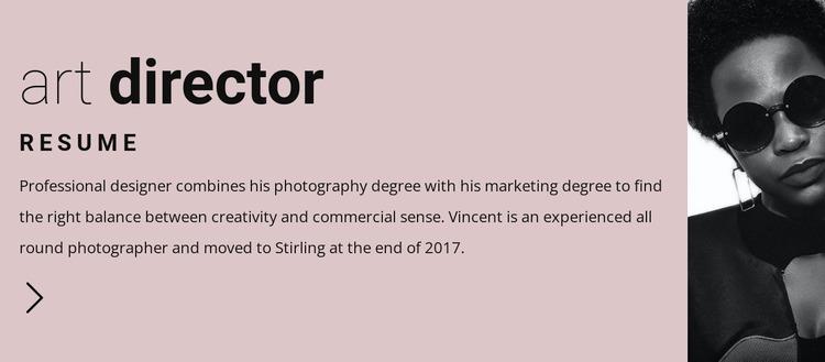 Resume for art leader WordPress Website Builder