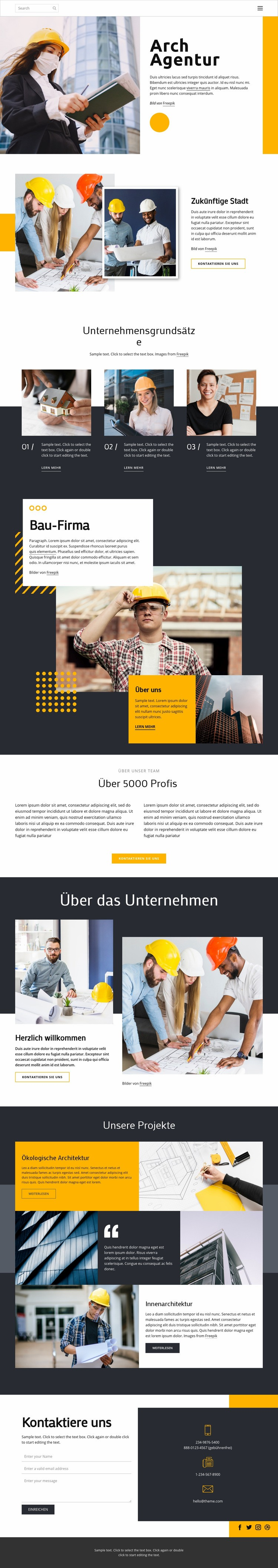 Preisgekrönte Architekten Website-Vorlage