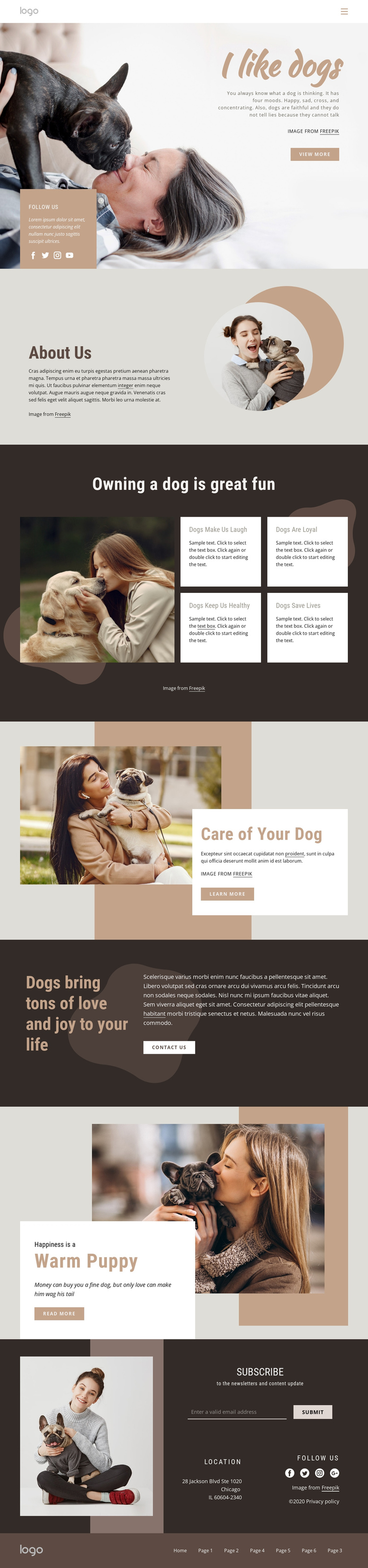 All about dogs One Page Template