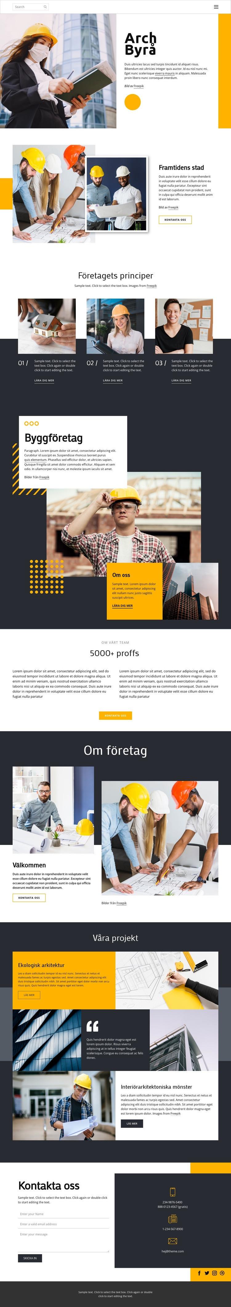 Prisbelönta arkitekter Webbplats mall