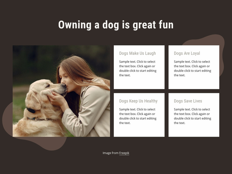 Owning a dog is gret fun Web Page Designer