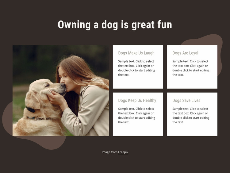 Owning a dog is gret fun Website Mockup